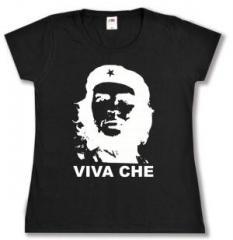 """Zum tailliertes T-Shirt """"Viva Che Guevara (weiß/schwarz)"""" für 13,65 € gehen."""