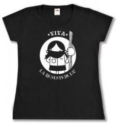 """Zum tailliertes T-Shirt """"Viva la Resistencia!"""" für 13,65 € gehen."""