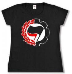 """Zum tailliertes T-Shirt """"Working Class Antifa"""" für 14,00 € gehen."""
