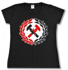 """Zum tailliertes T-Shirt """"Working Class Hammer (rot/schwarz)"""" für 14,00 € gehen."""