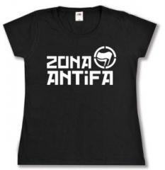 """Zum tailliertes T-Shirt """"Zona Antifa"""" für 14,00 € gehen."""