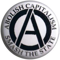"""Zum 25mm Button """"Abolish Capitalism - Smash the State (schwarz/weiß)"""" für 0,78 € gehen."""