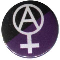 """Zum 25mm Button """"Anarcho-Feminismus (schwarz/lila)"""" für 0,80 € gehen."""