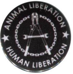 """Zum 25mm Button """"Animal Liberation - Human Liberation (Zange)"""" für 0,80 € gehen."""