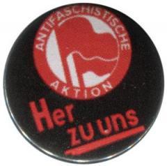 """Zum 25mm Button """"Antifaschistische Aktion her zu uns"""" für 0,80 € gehen."""