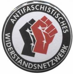 """Zum 25mm Button """"Antifaschistisches Widerstandsnetzwerk - Fäuste (schwarz/rot)"""" für 1,00 € gehen."""