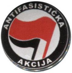 """Zum 25mm Button """"Antifasisticka Akcija (rot/schwarz)"""" für 0,80 € gehen."""