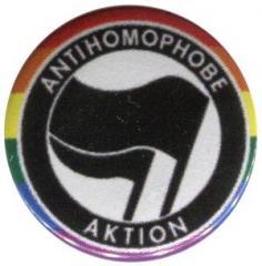 """Zum 25mm Button """"Antihomophobe Aktion (schwarz/schwarz)"""" für 0,80 € gehen."""