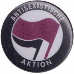 """Zum 25mm Button """"Antisexistische Aktion (lila/schwarz)"""" für 0,80 € gehen."""