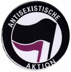 """Zum 25mm Button """"Antisexistische Aktion (schwarz/lila)"""" für 0,80 € gehen."""