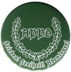 """Zum 25mm Button """"APPD Ährenkranz Frieden! Freiheit! Abenteuer! (grün)"""" für 0,80 € gehen."""
