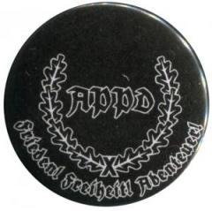 """Zum 25mm Button """"APPD Ährenkranz Frieden! Freiheit! Abenteuer! (schwarz)"""" für 0,80 € gehen."""
