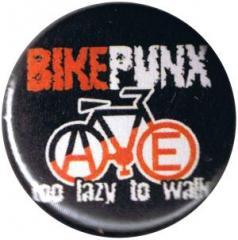 """Zum 25mm Button """"Bikepunx - too lazy to walk"""" für 0,78 € gehen."""