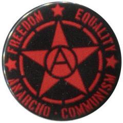"""Zum 25mm Button """"Freedom - Equality - Anarcho - Communism"""" für 0,80 € gehen."""