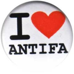 """Zum 25mm Button """"I love antifa"""" für 0,80 € gehen."""