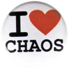 """Zum 25mm Button """"I love chaos"""" für 0,80 € gehen."""