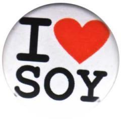"""Zum 25mm Button """"I love soy"""" für 0,80 € gehen."""