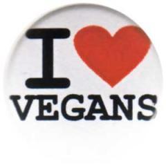 """Zum 25mm Button """"I love vegans"""" für 0,80 € gehen."""