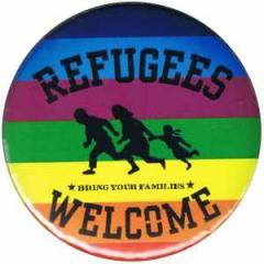"""Zum 25mm Button """"Refugees welcome (bunt)"""" für 0,78 € gehen."""