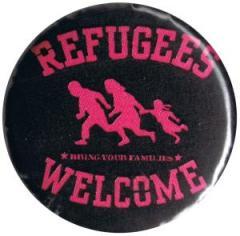 """Zum 25mm Button """"Refugees welcome (pink)"""" für 0,80 € gehen."""