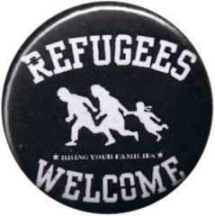 """Zum 25mm Button """"refugees welcome (weiß)"""" für 0,80 € gehen."""