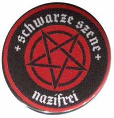 """Zum 25mm Button """"Schwarze Szene Nazifrei - Rotes Pentagramm"""" für 1,30 € gehen."""