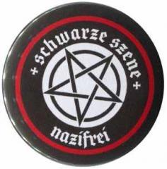 """Zum 25mm Button """"Schwarze Szene Nazifrei - Weisses Pentagramm"""" für 1,30 € gehen."""