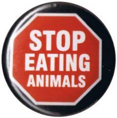 """Zum 25mm Button """"Stop Eating Animals"""" für 0,80 € gehen."""