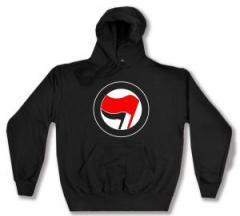 """Zum Kapuzen-Pullover """"Antifa Logo (rot/schwarz, ohne Schrift)"""" für 28,00 € gehen."""