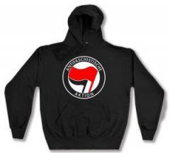 """Zum Kapuzen-Pullover """"Antifaschistische Aktion (rot/schwarz)"""" für 27,29 € gehen."""