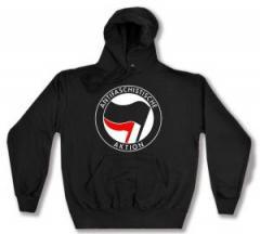"""Zum Kapuzen-Pullover """"Antifaschistische Aktion (schwarz/rot)"""" für 27,29 € gehen."""