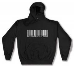 """Zum Kapuzen-Pullover """"Barcode - Never conform"""" für 28,00 € gehen."""