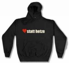 """Zum Kapuzen-Pullover """"herz statt hetze"""" für 28,00 € gehen."""