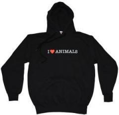 """Zum Kapuzen-Pullover """"I love Animals"""" für 26,00 € gehen."""