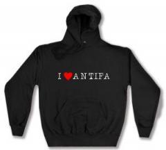 """Zum Kapuzen-Pullover """"I love Antifa"""" für 26,00 € gehen."""
