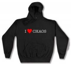 """Zum Kapuzen-Pullover """"I love Chaos"""" für 26,00 € gehen."""
