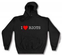 """Zum Kapuzen-Pullover """"I love Riots"""" für 25,34 € gehen."""
