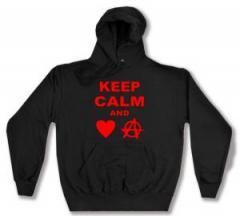 """Zum Kapuzen-Pullover """"Keep calm and love anarchy"""" für 28,00 € gehen."""