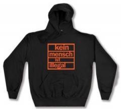 """Zum Kapuzen-Pullover """"Kein Mensch ist illegal (orange)"""" für 28,00 € gehen."""