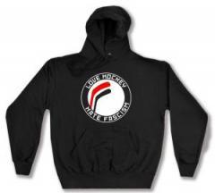 """Zum Kapuzen-Pullover """"Love Hockey Hate Fascism"""" für 27,29 € gehen."""