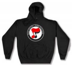 """Zum Kapuzen-Pullover """"love music - hate fascism (Noten)"""" für 27,00 € gehen."""