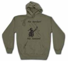 """Zum Kapuzen-Pullover """"No Border! No Nation! (w)"""" für 28,27 € gehen."""