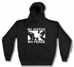 """Zum Kapuzen-Pullover """"No Justice - No Peace"""" für 27,29 € gehen."""