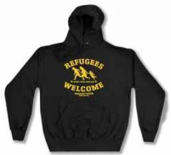 """Zum Kapuzen-Pullover """"Refugees welcome Linksjugend"""" für 29,24 € gehen."""