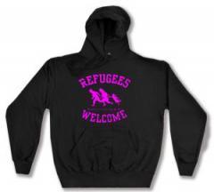 """Zum Kapuzen-Pullover """"Refugees welcome (pink)"""" für 27,00 € gehen."""
