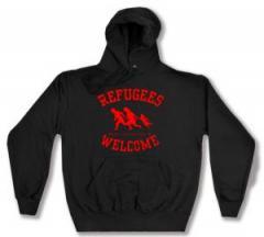 """Zum Kapuzen-Pullover """"Refugees welcome (rot)"""" für 28,00 € gehen."""