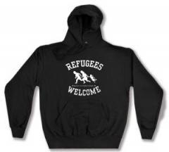 """Zum Kapuzen-Pullover """"Refugees welcome (weiß)"""" für 27,29 € gehen."""