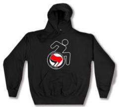 """Zum Kapuzen-Pullover """"RollifahrerIn Antifaschistische Aktion (rot/schwarz)"""" für 28,00 € gehen."""