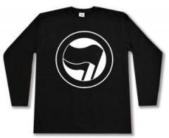 """Zum Longsleeve """"Antifaschistische Aktion (schwarz/schwarz) ohne Schrift"""" für 12,67 € gehen."""