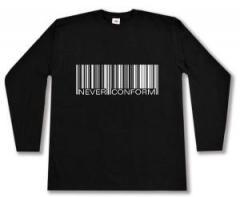 """Zum Longsleeve """"Barcode - Never conform"""" für 12,67 € gehen."""